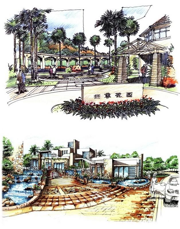 一组入口景观设计的手绘稿