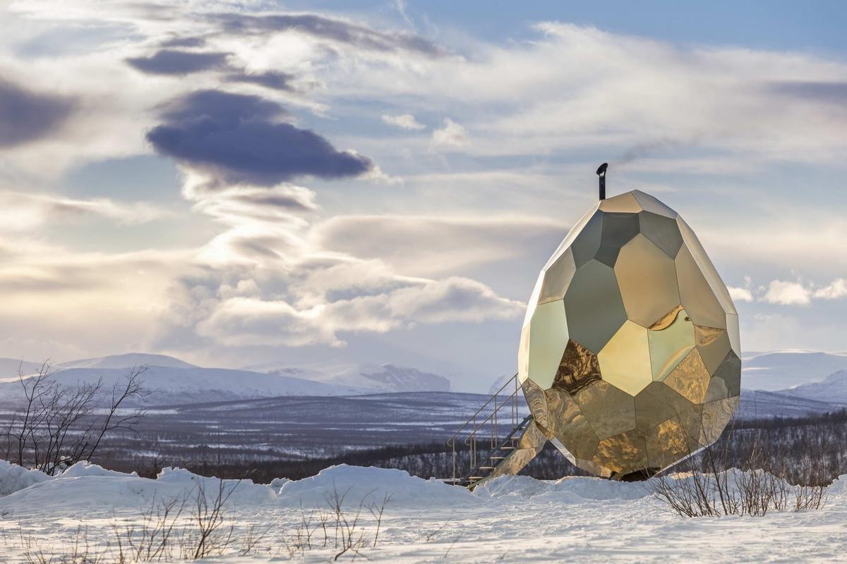 """瑞典基律纳""""日光蛋""""桑拿房-椭圆形装置"""